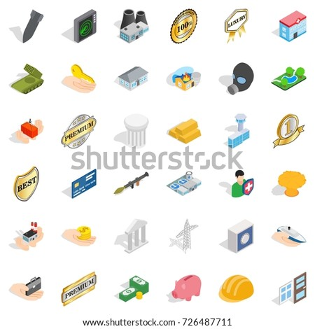 Building icons set. Isometric style of 36 building vector icons for web isolated on white background