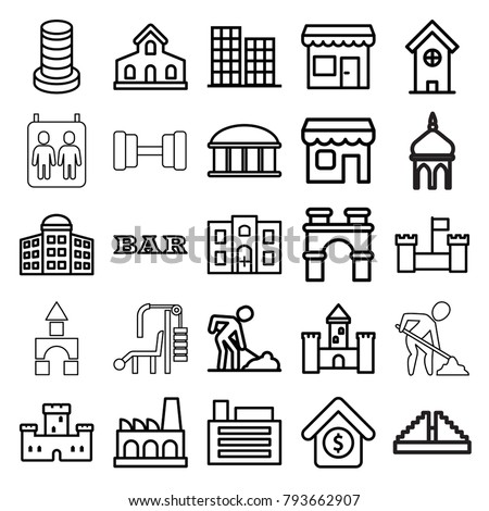 Building icons. set of 25 editable outline building icons such as castle, business center, observatory, arch, bar, digging man, house sale, shop, factory, builidng, store