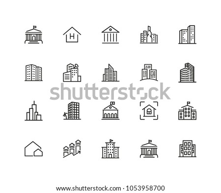 Building icons. Set of twenty line icons. Skyscraper, hotel, cityscape. Housing development concept. Vector illustration can be used for topics like mortgage, construction, architecture
