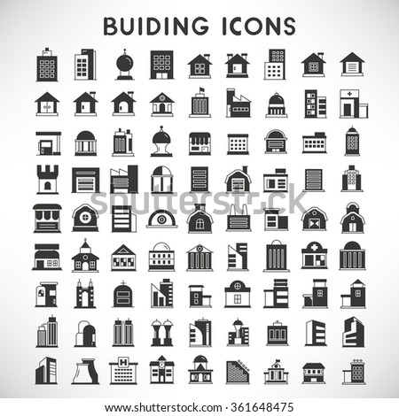 building icons set, real estate icons