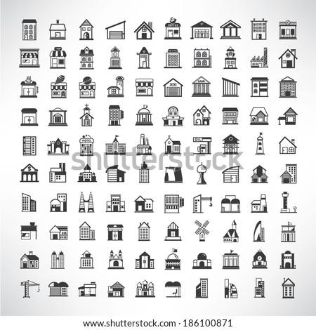 building icons set, simple building buttons