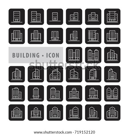 Building icons set, Urban icon building, icons modern design style