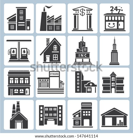 building icons set, vector