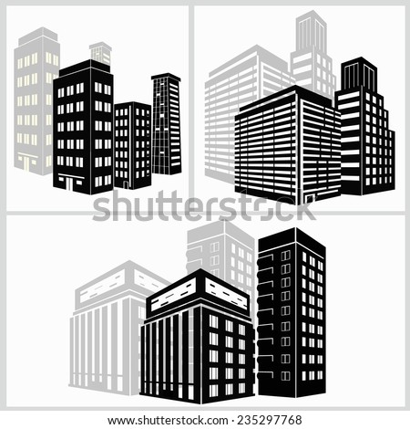 building icons set. Vector illustration. Simplus