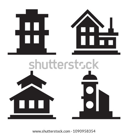 Building Icons Set. Vector illustration. Simplus series