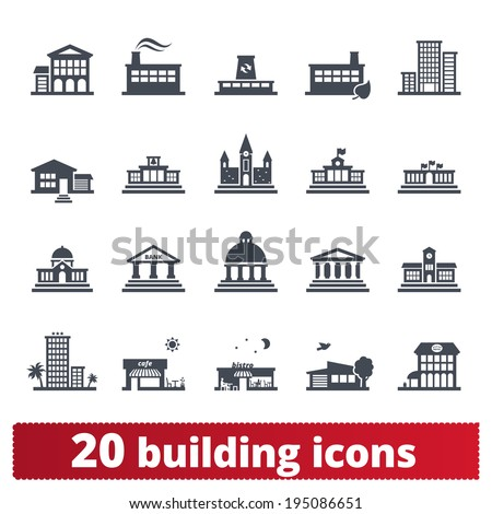 Building icons set: vector signs of places for maps, web interfaces and services.