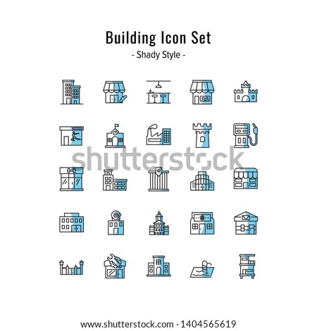 building icons vector. building icon set. shady icon style design