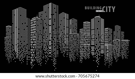 stock-vector-building-in-the-night-city-city-vector-skyline-perspective-architecture-vector
