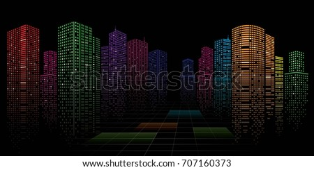 building in the night city