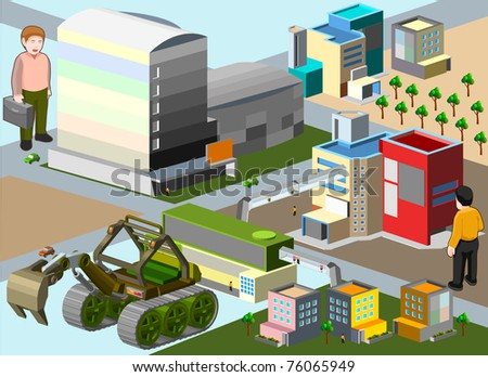 building isometric set. very detail isometric