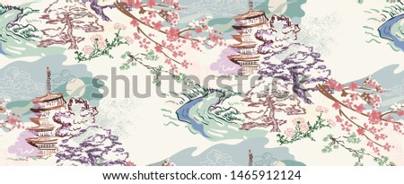 building landscape nature landscape view vector sketch illustration japanese chinese oriental line art ink seamless pattern