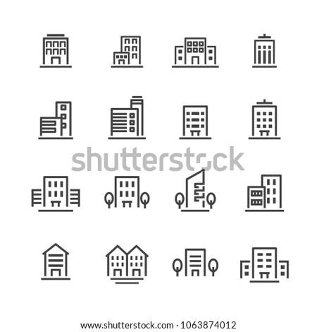 building line icon set
