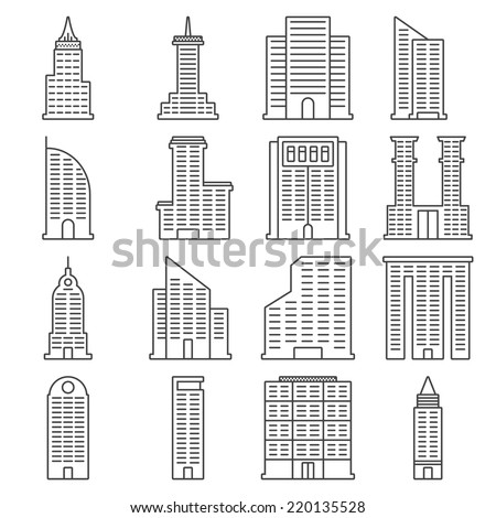 Building Line Icon Set - Vector Illustration