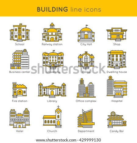 Building line icon set with titles school railway station city hall shop business center university and different vector illustration