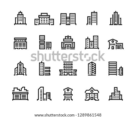 Building line icons. Business center with offices, municipal buildings, school and hospital. City constructions vector symbols