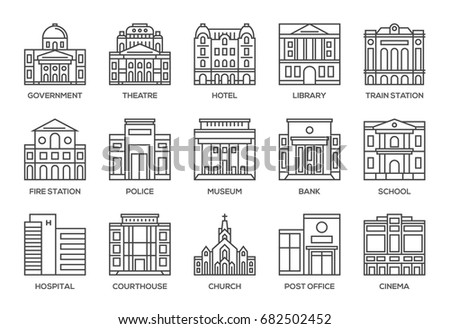 Building line icons set.