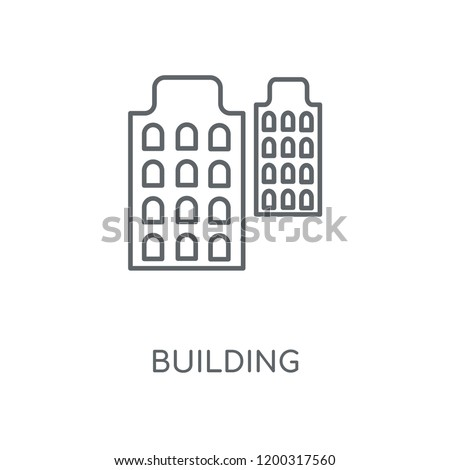 Building linear icon. Building concept stroke symbol design. Thin graphic elements vector illustration, outline pattern on a white background, eps 10.