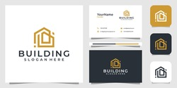 Building logo illustration vector graphic design in line art style. Good for brand, advertising, real estate, construction, house, home, and business card
