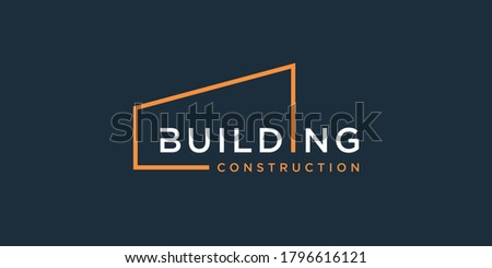 Building logo with modern line art design, design template, logo, logo template Premium Vector