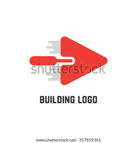 building logo with red trowel. concept of implement, workshop, household, create, major overhaul, roughcast, spatula, mason. isolated on white background. flat style modern design vector illustration