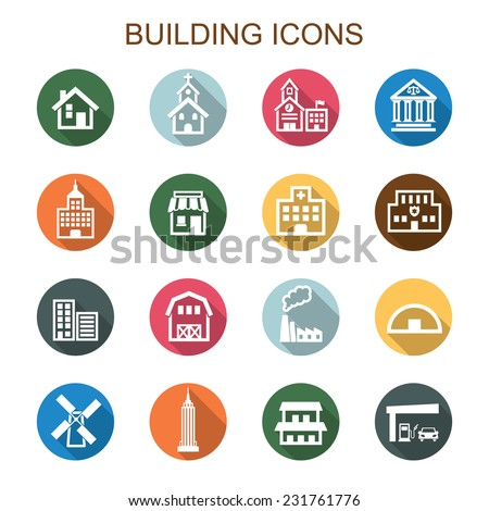 building long shadow icons, flat vector symbols