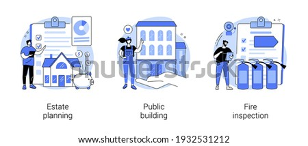 Building maintenance abstract concept vector illustration set. Estate planning, public building, fire inspection, modern design, attorney advise, certification and requirements abstract metaphor.