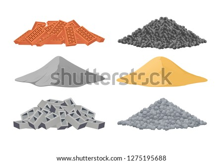 Building materials, a pile of bricks, cement, sand, cinder blocks, stones on white background. Vector illustration