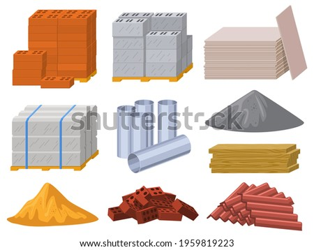 Building materials. Construction industry bricks, cement, wooden planks and metal pipes vector illustration set. Building insulation roofing material. Construction wooden material, block to building