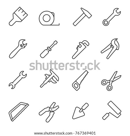 Building mechanical tools icons set. plumbing work, repair, construction buildings. Vector linear icon.  Line with Editable stroke