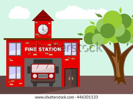 Building of fire station with a truck car in garage. Illustrated vector with flat color style.