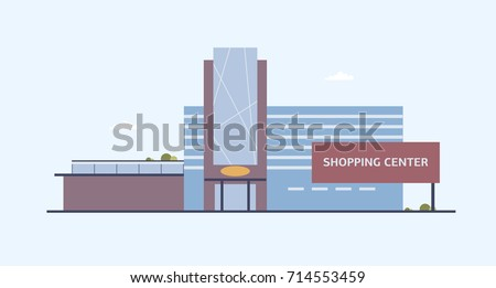 Modern Shopping Mall. Shopping Center Exterior. Flat Vector Cartoon..  Royalty Free Cliparts, Vectors, And Stock Illustration. Image 84139218.