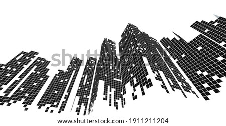 Building perspective, Cityscape on white background, Modern building in the city skyline, city silhouette, Business center, Vector illustration in flat design.