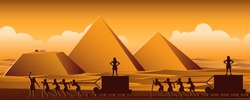 Building Pyramid in Egypt in ancient time use men to be slave the whole day,cartoon version,vector ilustration