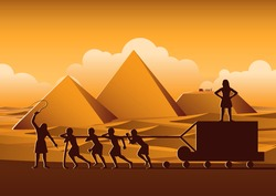 Building Pyramid in Egypt in ancient time use men to be slave the whole day,cartoon version,vector illustration
