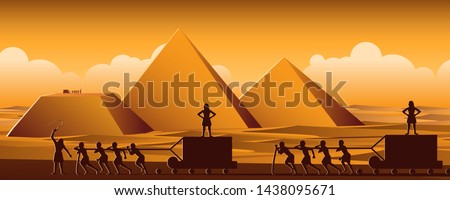 Building Pyramid in Egypt in ancient time use men to be slave the whole day,cartoon version,vector ilustration Foto stock ©