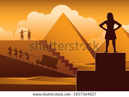 Building Pyramid in Egypt in ancient time use men to be slave the whole day,cartoon version,vector illustration Foto stock ©