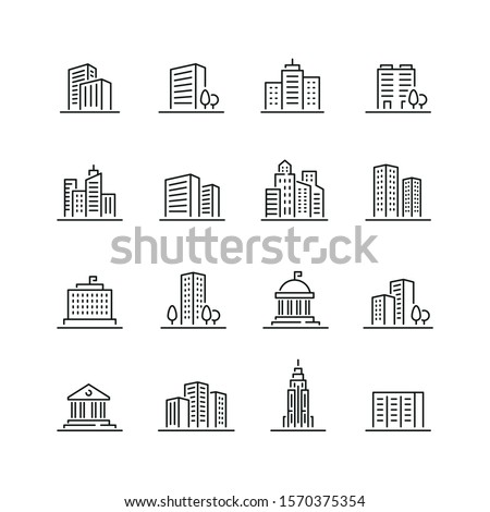 Building related icons: thin vector icon set, black and white kit
