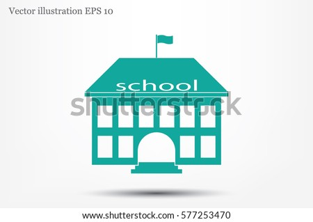 building school icon vector illustration eps10. Isolated badge for website or app - stock infographics.
