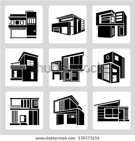 building set, architecture, real estate building icons