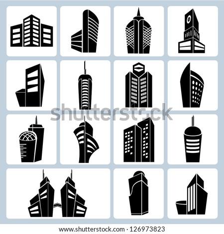 building set, 3d building icons