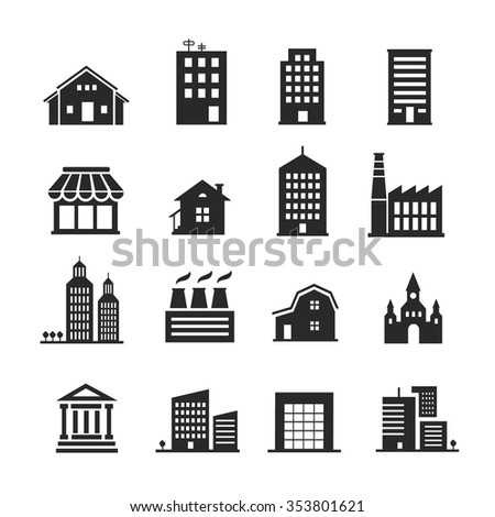 Building  shop icon set one color vector
