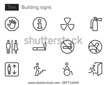 Building signs Vector icons set Thin line outline