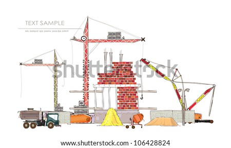 """building site with cranes """"Happy world"""" collection"""