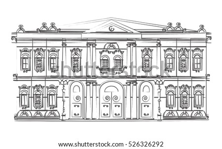 building sketch hermitage museum black and white drawn with a pencil masterpiece of architecture