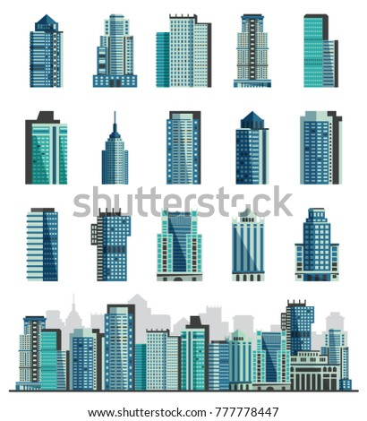 Building skyscraper or city skyline vector set cityscape with business officebuilding of commercial company and build architecture to high sky illustration isolated on white background