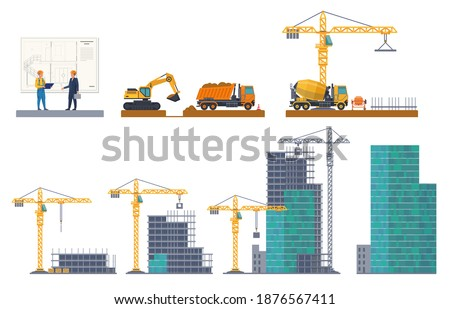 Building stages. House emergence, project discussion, pit digging, foundation pouring, frame construct, concrete panels. Machinery and equipment crane, truck at construction site vector flat concept stock photo