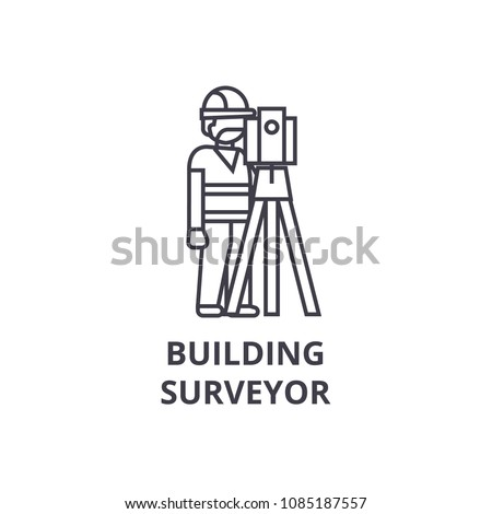 building surveyor vector line icon, sign, illustration on background, editable strokes