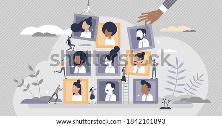 Building team with best members for hiring job positions tiny person concept. Employee profile selection from HR criteria for company work vector illustration. Human resources vacancy gathering scene. Stock photo ©