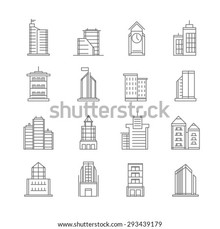 Building thin line icons set - vector Illustration