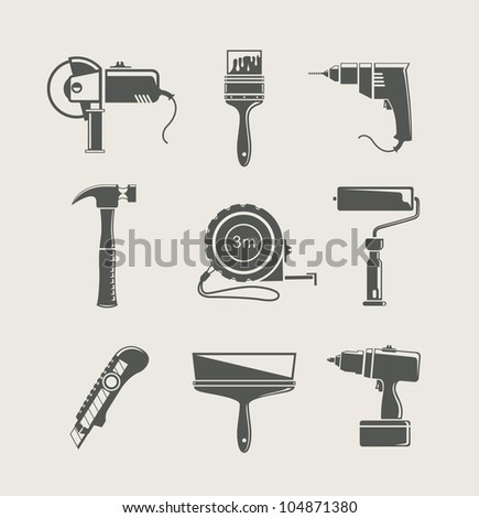 building tool icon set vector illustration isolated on background